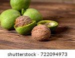 fresh harvest of walnuts on a... | Shutterstock . vector #722094973