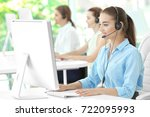 young female technical support... | Shutterstock . vector #722095993