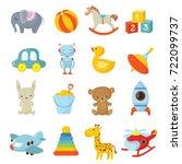 cartoon children toys vector... | Shutterstock .eps vector #722099737