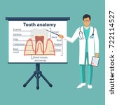 tooth anatomy on board. doctor... | Shutterstock .eps vector #722114527