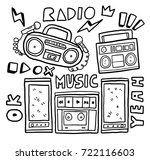 set hand drawn retro radio | Shutterstock .eps vector #722116603