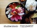 sashimi and japanese food | Shutterstock . vector #722134957