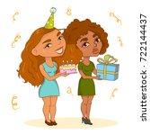 girls with birthday presents | Shutterstock .eps vector #722144437