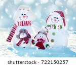 snowman on snow. mother  father ... | Shutterstock . vector #722150257