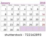 calendar 2018. simple digital... | Shutterstock .eps vector #722162893