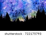 night sky with stars and trees | Shutterstock . vector #722175793