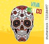 mexican ornamental skull   Shutterstock .eps vector #722186497