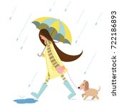Stock vector a girl is walking with a dog 722186893