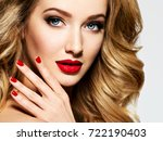 portrait of the blonde woman... | Shutterstock . vector #722190403
