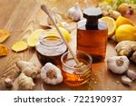 bottle of syrup  honey and...   Shutterstock . vector #722190937