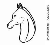 realistic horse portrait black... | Shutterstock . vector #722203393