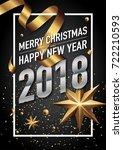 2018 happy new year vector...   Shutterstock .eps vector #722210593