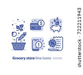 grocery store line icons ... | Shutterstock .eps vector #722211943