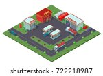 isometric gas station concept... | Shutterstock .eps vector #722218987