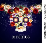 day of the dead background with ... | Shutterstock .eps vector #722230693