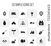 set of 20 editable camping... | Shutterstock .eps vector #722241613