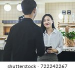 discussing in pantry with... | Shutterstock . vector #722242267