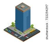 isometric city houses... | Shutterstock .eps vector #722254297