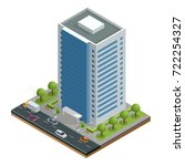 isometric city houses... | Shutterstock .eps vector #722254327