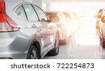 a row of new cars parked at a... | Shutterstock . vector #722254873