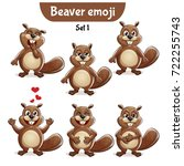 vector set of cute beaver... | Shutterstock .eps vector #722255743