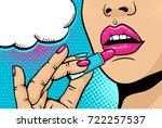 pop art makeup. closeup of sexy ... | Shutterstock .eps vector #722257537