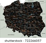 high detailed poland road map... | Shutterstock .eps vector #722266057