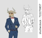bull dressed up in classy style ...   Shutterstock .eps vector #722270857