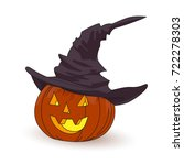 halloween  pumpkin in a witch... | Shutterstock .eps vector #722278303