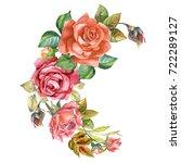 roses garland.watercolor   Shutterstock . vector #722289127