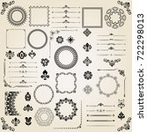 vintage set of classic elements.... | Shutterstock . vector #722298013