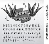 hand written oldschool alphabet.... | Shutterstock .eps vector #722305633