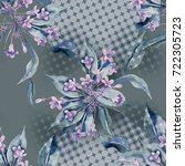 seamless pattern with weigela... | Shutterstock . vector #722305723