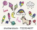 funny stickers set | Shutterstock .eps vector #722314657