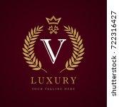 luxury calligraphic letter v... | Shutterstock .eps vector #722316427