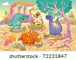 Group of funny dinosaurs in a prehistoric landscape. Cartoon and vector isolated characters on background - stock vector