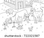 farm animals and rural... | Shutterstock . vector #722321587