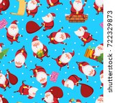 christmas seamless pattern with ... | Shutterstock .eps vector #722329873