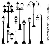 old street lamps set in... | Shutterstock .eps vector #722333833