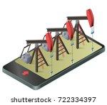three vector oil extraction... | Shutterstock .eps vector #722334397