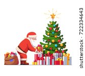 santa claus with sack putting... | Shutterstock .eps vector #722334643