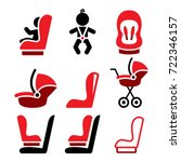Baby Car Seat Vector Icons ...