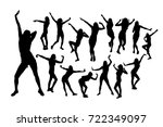 set silhouettes of dancing... | Shutterstock .eps vector #722349097