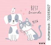 cute best friends cat  dog and... | Shutterstock .eps vector #722353027