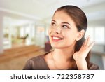 a girl with a hearing aid. the... | Shutterstock . vector #722358787