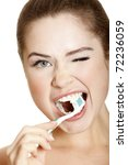 young lady brushing her teeth ... | Shutterstock . vector #72236059