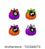 set of halloween pumpkins with... | Shutterstock .eps vector #722368273