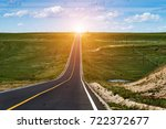 highway in steppe against a...   Shutterstock . vector #722372677