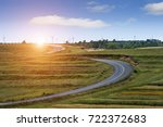 highway in steppe against a...   Shutterstock . vector #722372683