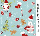cute christmas holiday seamless ... | Shutterstock .eps vector #722379097